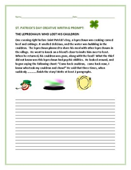ST. PATRICK'S DAY CREATIVE WRITING PROMPT: THE LEPRECHAUN'S CAUDRON