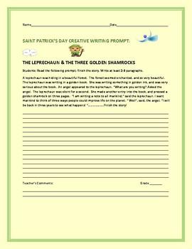 ST. PATRICK'S DAY CREATIVE WRITING PROMPT: THE LEPRECHAUN & THREE GOLD SHAMROCKS