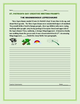 ST. PATRICK'S DAY CREATIVE WRITING PROMPT: THE MAGNANIMOUS LEPRECHAUNS