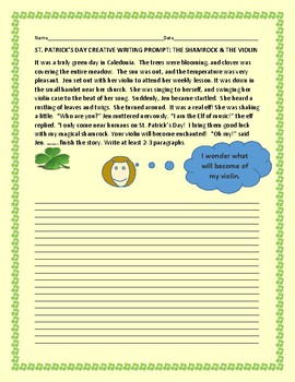 ST. PATRICK'S DAY CREATIVE WRITING PROMPT: THE SHAMROCK &
