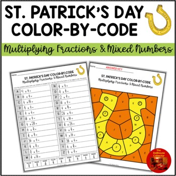 ST. PATRICK'S DAY Color-By-Code Activity: MULTIPLYING FRACTIONS & MIXED NUMBERS