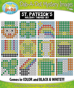 ST. PATRICK'S DAY Dab-A-Dot Mystery Images Clipart {Zip-A-