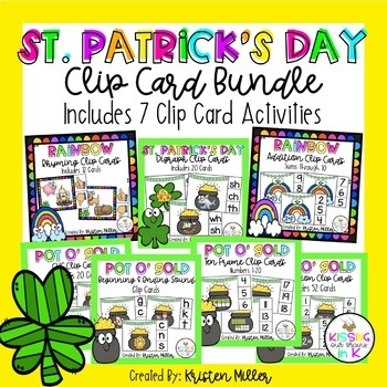 ST. PATRICK'S DAY ELA and Math Clip Card Bundle