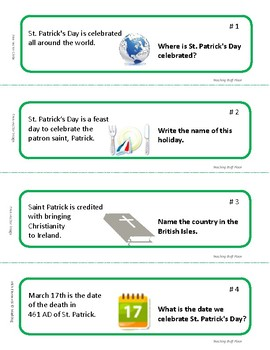 ST. PATRICK'S DAY FACTS and ELA Skills  Holiday Vocabulary TASK CARDS, Gr 4-5
