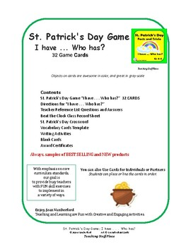 ST. PATRICK'S DAY FACTS and TRIVIA  Grades 4-5  I have ... Who has...? Game