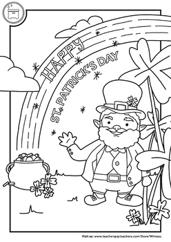 st patrick's day free coloring page / post card