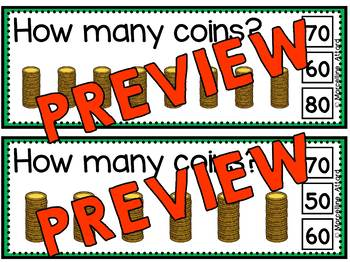 ST. PATRICK'S DAY MATH (COINS SKIP COUNTING CLIP CARDS) COUNTING BY TENS CENTER