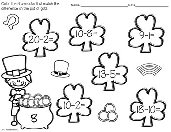 FREE NO PREP St. Patrick's Day Math Printables