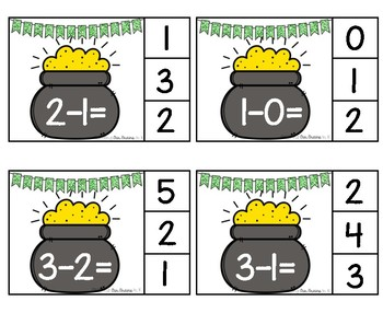 ST. PATRICK'S DAY Pot O' Gold Subtraction Clip Cards