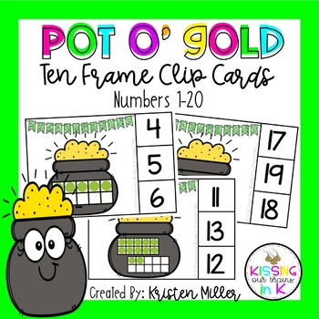ST. PATRICK'S DAY Pot O' Gold Ten Frame 1-20 Clip Cards