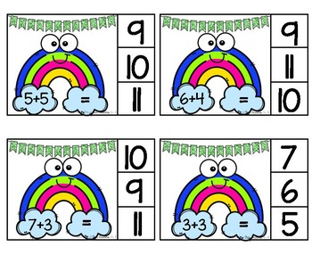 ST. PATRICK'S DAY Rainbow Addition Clip Cards