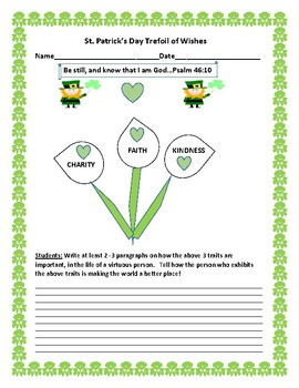 ST. PATRICK'S DAY TREFOIL OF WISHES: A CHARACTER EDUCATION ACTIVITY
