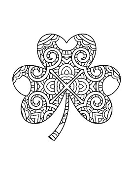 ST PATRICKS DAY COLORING, BUNDLE 6 PAGES, SHAMROCK CLOVER COLORING, ZENTANGLE