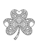 ST PATRICKS DAY COLORING, BUNDLE 6 PAGES, SHAMROCK CLOVER
