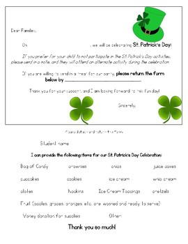 ST. PATRICK'S Day PARTY letter to Parents