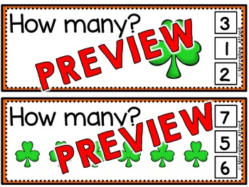 ST. PATRICK'S DAY MATH CENTER:SHAMROCK COUNTING CLIP CARDS:PRE K COUNTING CENTER