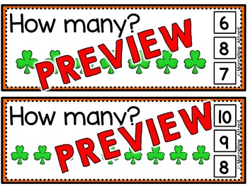 ST. PATRICK'S DAY MATH CENTER (SHAMROCK COUNTING) MARCH ACTIVITY PRESCHOOL