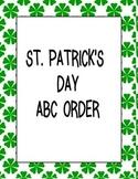 ST PATRICKS DAY ABC ORDER