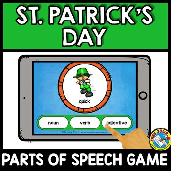 ST PATRICKS DAY ACTIVITY FIRST GRADE (MARCH PARTS OF SPEECH QUIZ) BOOM CARDS
