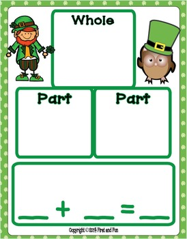 ST PATRICK'S DAY ADDITION PART PART WHOLE  MAT WORKSHEETS TASK CARD COMMON CORE