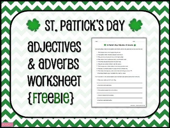 ST. PATRICK'S DAY Adjectives & Adverbs Worksheet {FREEBIE}