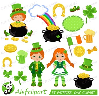 ST PATRICKS DAY  Digital Clipart , Patricks Day Clipart, Leprechauns Clipart