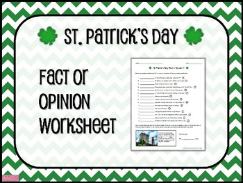 ST. PATRICK'S DAY Fact or Opinion Worksheet