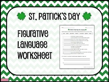 ST. PATRICK'S DAY Figurative Language Worksheet by Mainly Middle ...