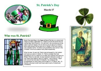 ST PATRICK'S DAY INFORMATION AND TASK PACK FOR GRADES 6-7