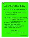 ST. PATRICKS DAY LEGEND OF IRISH LEPRECHAUN WORKSHEETS