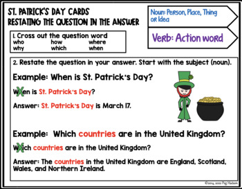 ST. PATRICK'S DAY: LISTENING COMPREHENSION CARDS