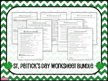 ST. PATRICK'S DAY Seven Worksheet BUNDLE