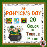 ST Patrick's Day Music Coloring Pages: 26 Color by Treble Pitch