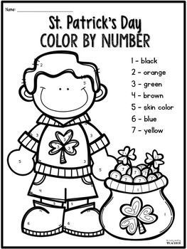 ST. Patrick's Day FREEBIE - Word Families, Digraphs, and Color by Number