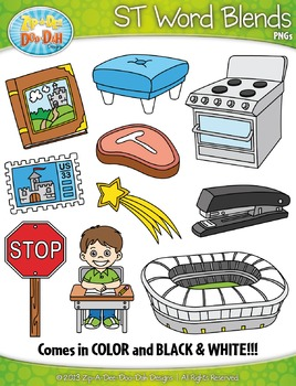 ST Word Blends Clipart Set — Includes 20 Graphics!