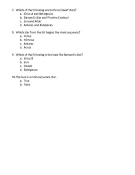 STAAAARS HR Diagram Follow Up Questions