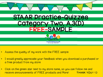 STAAR-Practice Quiz, Category 2, TEKS A.3(D), FRE sample