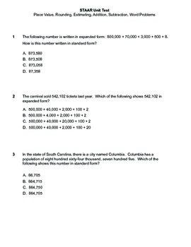 STAAR 3rd Grade Math Unit 1 Test Word Problems