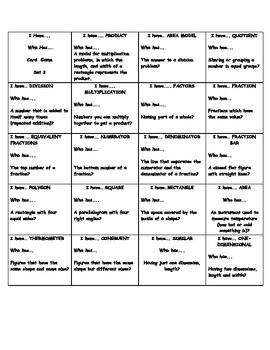 STAAR 3rd Grade Math Vocabuary I Have Who Has Game (3-5)