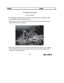 STAAR 3rd Grade Nonfiction Passage Wolves