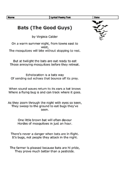 STAAR 3rd Grade Poetry Bats The Good Guys by Annie ...