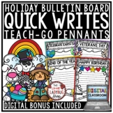 Holiday Writing Prompts 1st Grade, 2nd Grade, 3rd Grade- Monthly Quick Writes