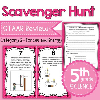 STAAR 5th Grade Science Category 2 Review Scavenger Hunt