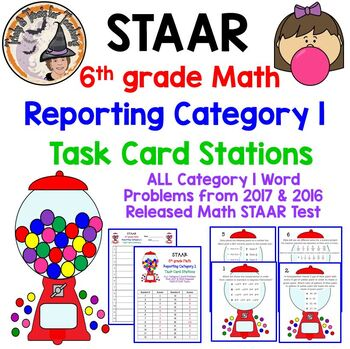 STAAR 6th Grade Math Reporting Category 1 Gumball Machine Task Card Stations