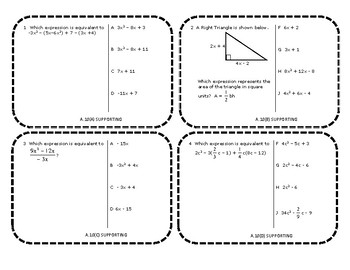 Algebra 1 EOC Category 1 Task Cards