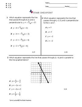 STAAR ALGEBRA 1 EOC CHECKPOINT - A.2E, A.2F & A.2G