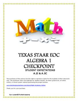STAAR ALGEBRA 1 EOC CHECKPOINT - A.2I & A.5C