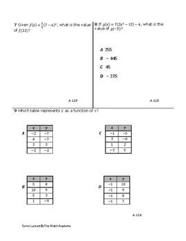 STAAR ALGEBRA 1 EOC CHECKPOINT – A.12A & A.12B