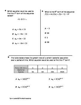 STAAR ALGEBRA 1 EOC CHECKPOINT – A.12C & A.12D