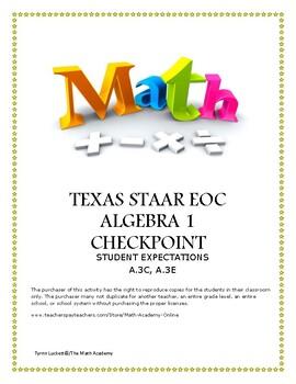 STAAR ALGEBRA 1 EOC CHECKPOINT – A.3C & A.3E